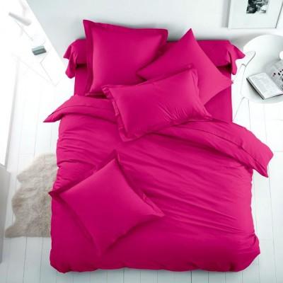 Едноцветен двоен спален комплект ранфорс в цикламено