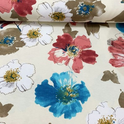 Curtain and upholstery with colorful flowers