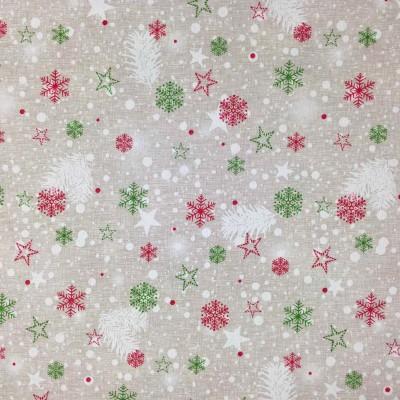 Коледен плат за покривки със снежинки и звездички в червено и зелено