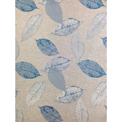 Curtain with leafs in blue