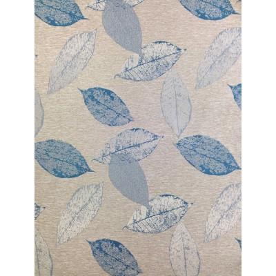 Плат за плътна завеса с листа в синьо