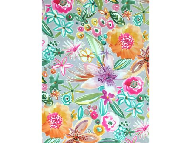 Непромокаем текстил за външни условия Outdoor с цветя на сив фон