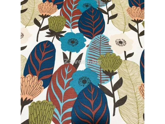 Плат за плътна завеса и дамаска с абстрактни листа и цветя в тъмни цветове