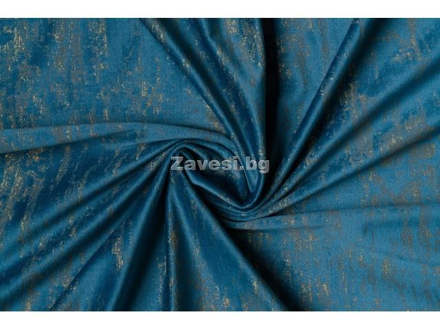 Плюшен плат за плътна завеса в синьо