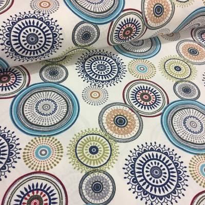 Curtain and upholstery with blue circles