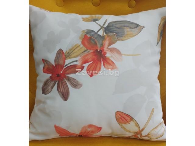 Калъфка за декоративна възглавничка с цветя в оранжево размер 40/40