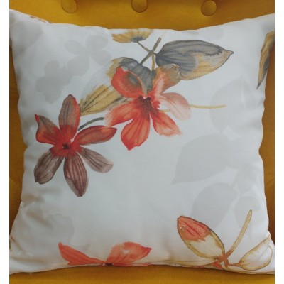 Decorative pillow case with flowers in orange 40/40