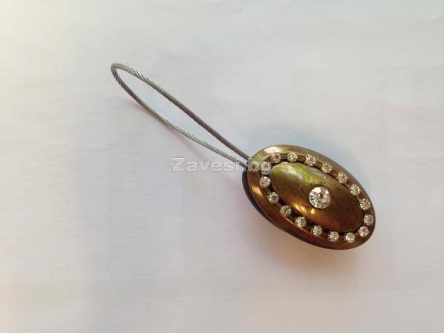 Магнитна щипка за пердета и завеси в антично злато с камъни