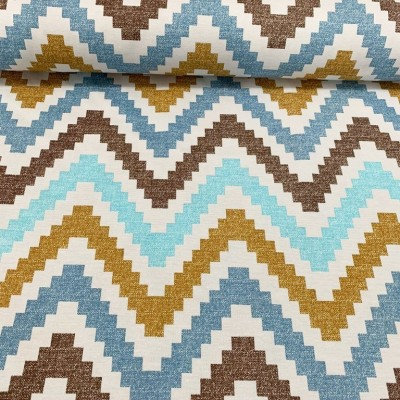 Curtain and upholstery Zig zag in blue, brown and white