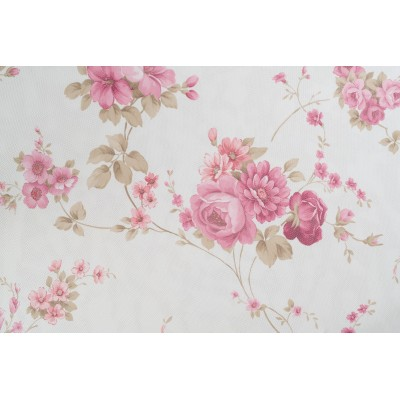 Curtain with flowers on cream background