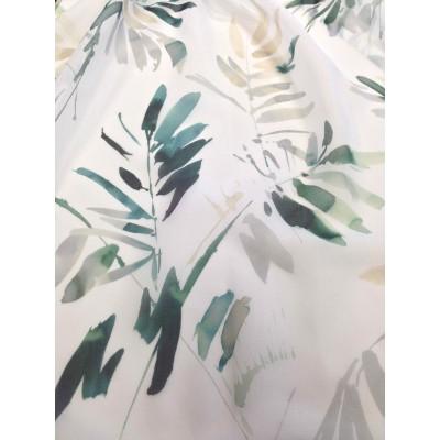 Плат за тънко перде с листа в зелено