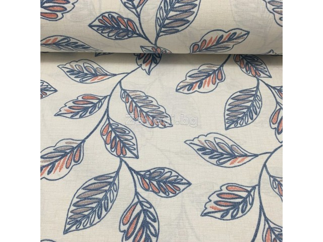 Плат за плътна завеса и дамаска с листа в синьо