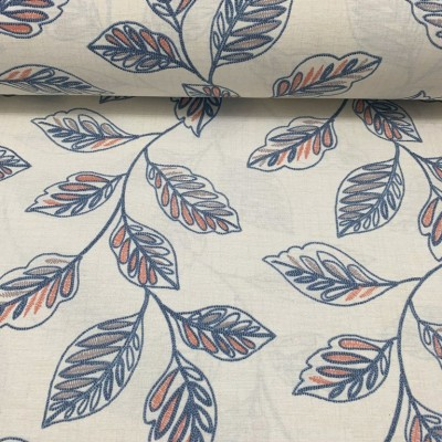 Curtain and upholstery with leaves in blue