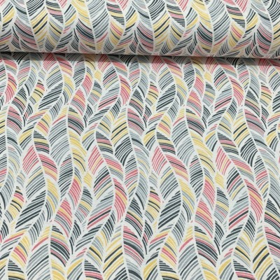 Curtain with Leafs in pink, grey and yellow