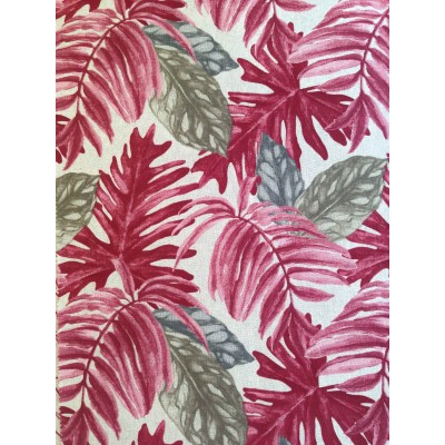 Curtain with tropical leaves in red