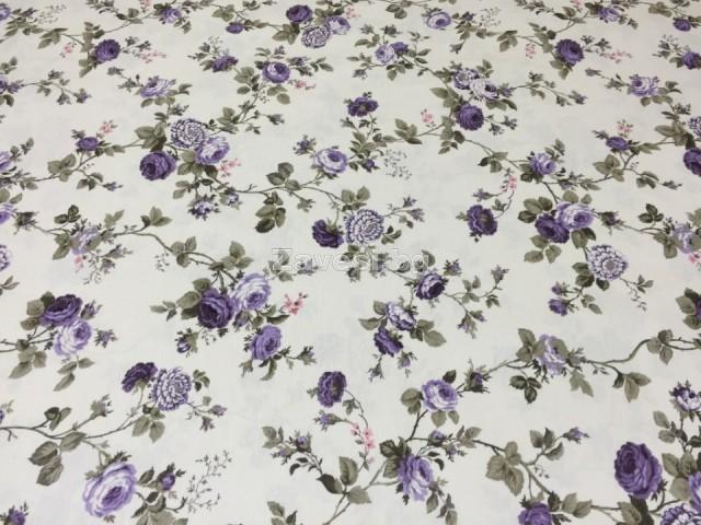 Парче плат 3м с ширина 1.80м цветя в лилаво