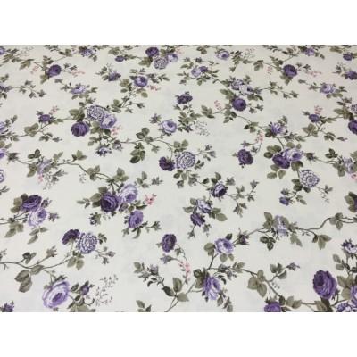 Парче плат 2.50м с ширина 1.80м цветя в лилаво