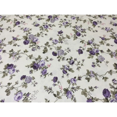 Piece fabric with purple flowers 3m