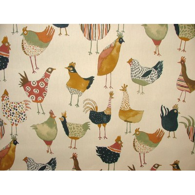 Curtain for children with colorful hens on beige background