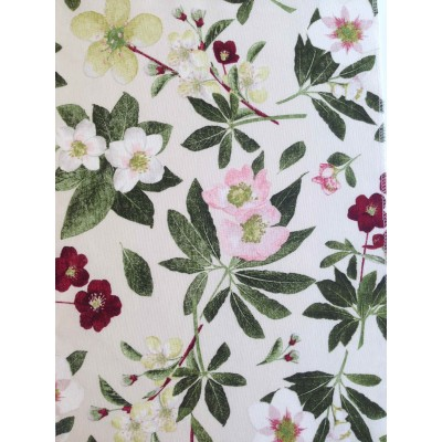 Curtain with flowers on beige background