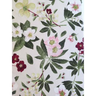 Плат за плътна завеса с цветя на мръсно бял фон