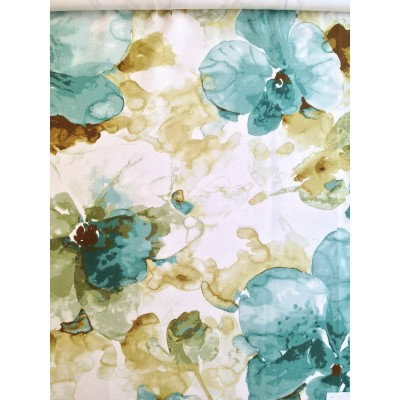 Curtain with abstract flowers in turquoise and green