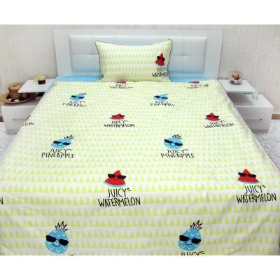 Детски спален комплект с плодчета в жълто и синьо