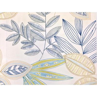 Плат за плътна завеса с бродерия Листа в синьо и зелено
