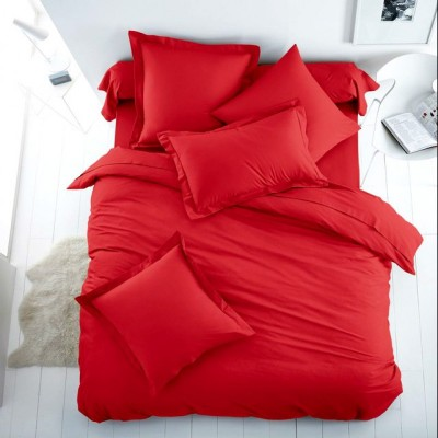 Едноцветен единичен спален комплект ранфорс в червено