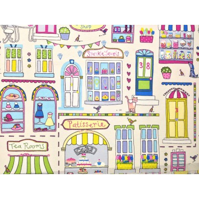 Curtain with colorful shops