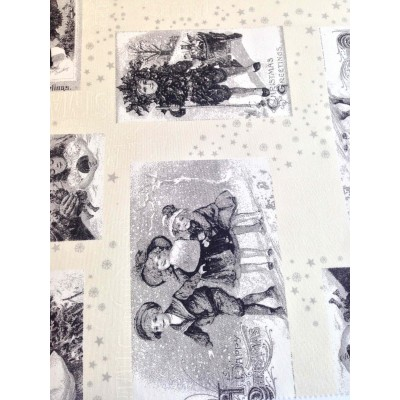 Коледен плат за покривки с ангелчета в сиво и бяло