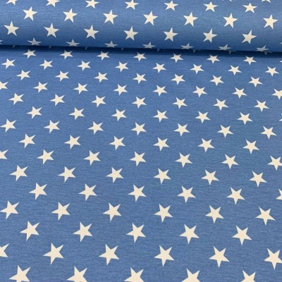 Curtain and upholstery with stars on blue background