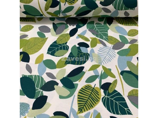 Плат за плътна завеса и дамаска с листа в зелено