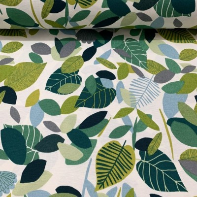 Curtain and upholstery with leaves in green