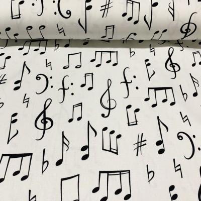 Плат за плътна завеса и дамаска с ноти на бял фон