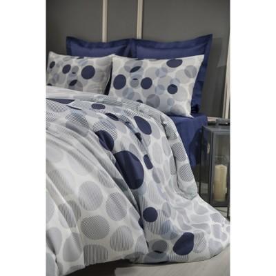 Двоен спален комплект с два плика ранфорс на кръгове в тъмно синьо