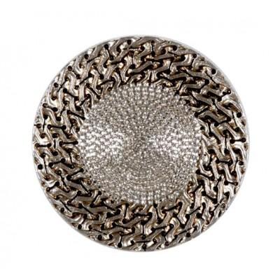 Сребърен държач за завеси с декоративни камъчета