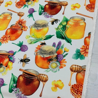 Curtain and upholstery with digital print Honey