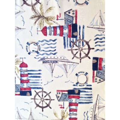 Curtain with maritime elements Lighthouse in red