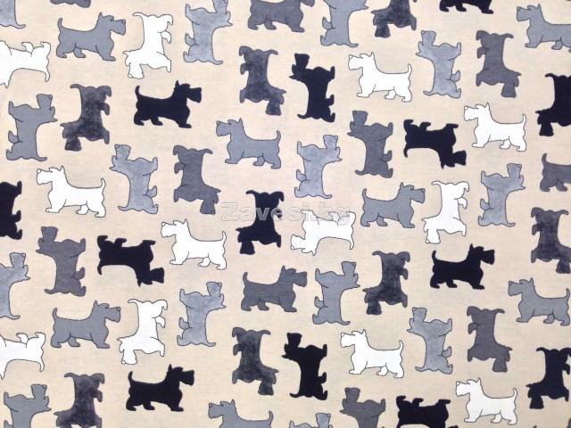 Плат за плътна завеса с кученца в сиво, черно и бяло