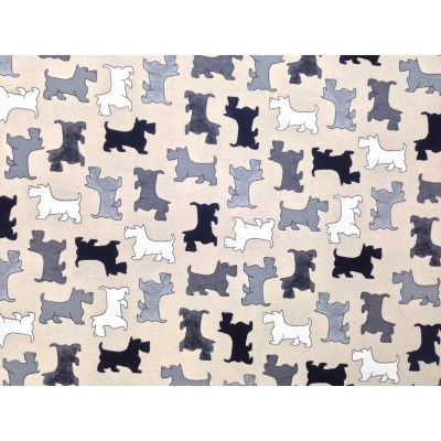 Curtain with dogs in grey, black and white