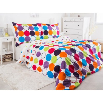 Единичен спален комплект ранфорс с шарени кръгове