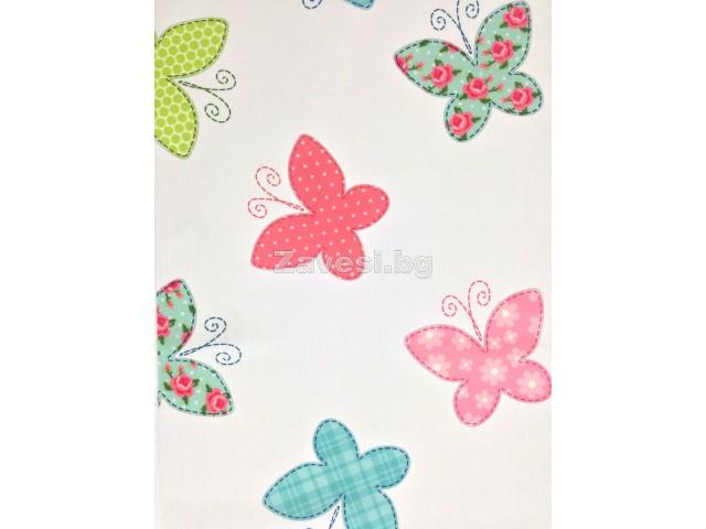 Плат за плътна детска завеса с пеперуди