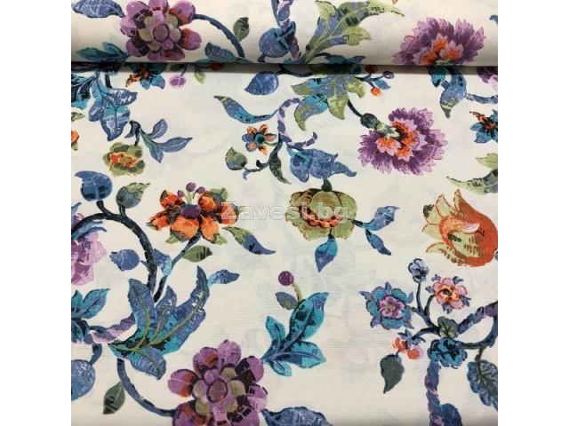 Флорален десен за плътна завеса и дамаска в синьо и лилаво