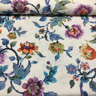 Curtain and upholstery with flowers in blue and purple