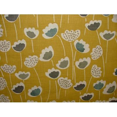 Плат за плътна завеса със стилизирани цветя на жълт фон