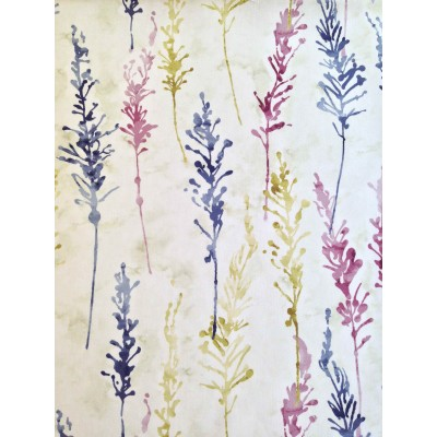 Curtain with abstract flowers in purple, yellow and blue