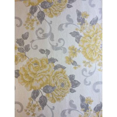 Дамаска с големи жълти цветя