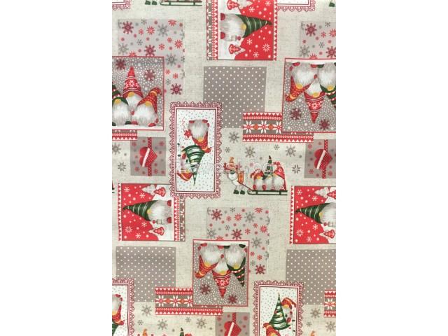 Коледен плат за плътни завеси и покривки в сиво и червено с гномчета