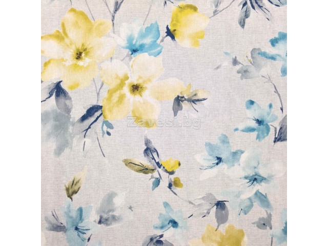 Плат за плътна завеса с цветя в жълто и тюркоаз на сив фон